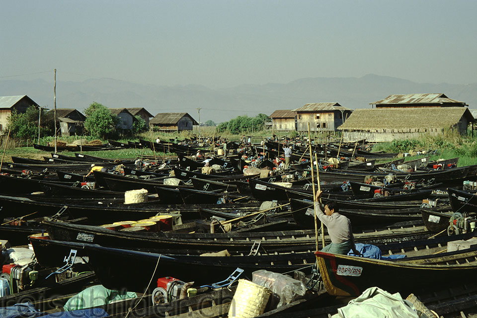 Boats at the Nampan Market at the Inle Lake