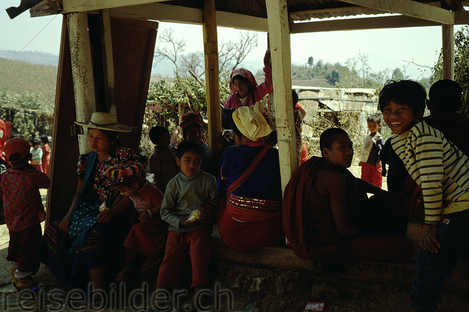 People at a celebration in the mountains near Kalaw