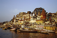 Bathing ghats of Varanasi, holy town on the Ganges River