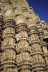 Stone figures on a temple in Khajuraho
