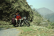 Andrea and I on the Enfield near Nainital
