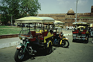 Harley taxis at the Red Fort in Old Delhi