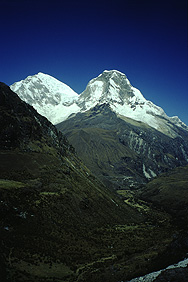 View of Mt. Huascarán in the Cordillera Blanca