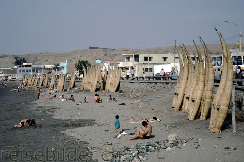 """Caballitos"" (fishing rafts) in Huanchaco near Trujillo"