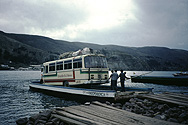 Bus on a ferry on Lake Titicaca