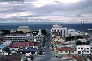 Punta Arenas with Magellan Strait and Tierra del Fuego in the background