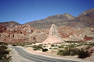 Colorful rock formations between Cafayate and Salta