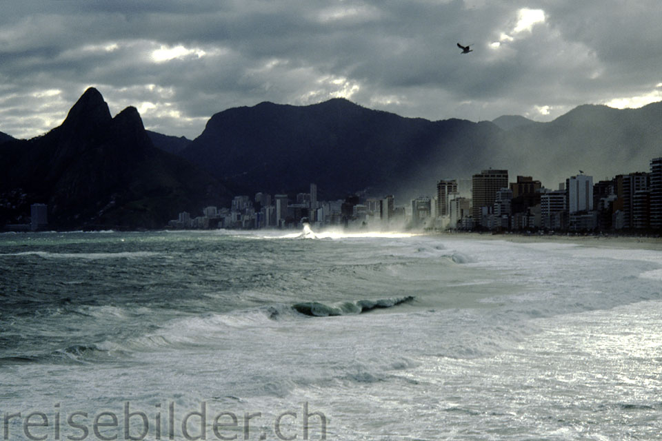 Ipanema and Leblon beaches in stormy weather