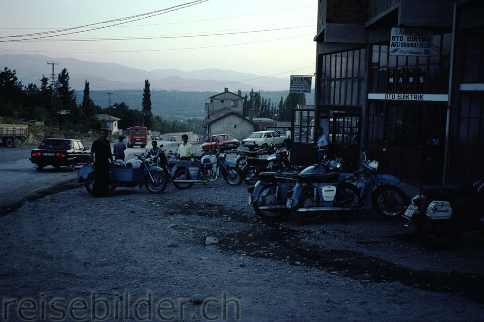 Dnjepr motorbikes in Tosya on the E80 road