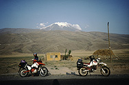 Our motorbikes in front of Ararat mountain