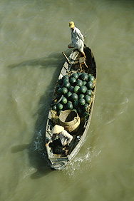Watermelon transport near Can Tho in the Mekong Delta